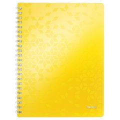Caiet de birou LEITZ WOW, PP, A4, 80 coli, cu spira, dictando, galben