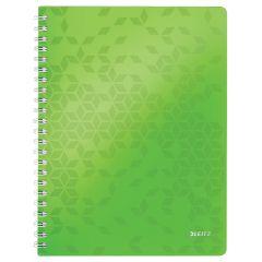 Caiet de birou LEITZ WOW, PP, A4, 80 coli, cu spira, dictando, verde