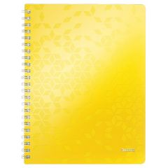 Caiet de birou LEITZ WOW, PP, A4, 80 coli, cu spira, matematica, galben