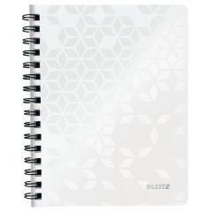 Caiet de birou LEITZ WOW, PP, A5, 80 coli, cu spira, dictando, alb