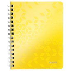 Caiet de birou LEITZ WOW, PP, A5, 80 coli, cu spira, matematica, galben