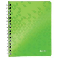 Caiet de birou LEITZ WOW, PP, A5, 80 coli, cu spira, matematica, verde