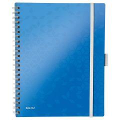 Caiet de birou LEITZ WOW Be Mobile, PP, A4, 80 coli, cu spira, dictando, albastru
