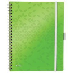 Caiet de birou LEITZ WOW Be Mobile, PP, A4, 80 coli, cu spira, dictando, verde