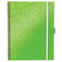 Caiet de birou LEITZ WOW Be Mobile, PP, A4, 80 coli, cu spira, matematica, verde