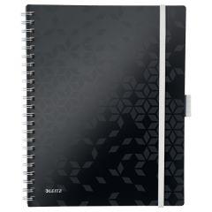 Caiet de birou LEITZ WOW Be Mobile, PP, A4, 80 coli, cu spira, matematica, negru