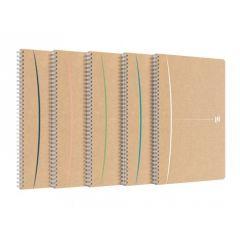 Caiet cu spirala A4, OXFORD Touareg, 90 file-90g/mp, coperta carton reciclat, kraft/dungi ass - dict
