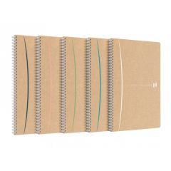 Caiet cu spirala A4, OXFORD Touareg, 90 file-90g/mp, coperta carton reciclat, kraft/dungi ass - mate