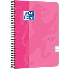 Caiet cu spirala A5, OXFORD School Touch , 70 file-90g/mp, 4 perf, coperta carton roz - mate