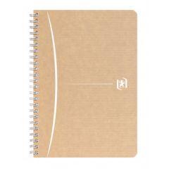 Caiet cu spirala A5, OXFORD Touareg, 90 file-90g/mp, coperta carton reciclat, kraft/dungi ass - mate