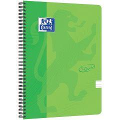 Caiet cu spirala A4, OXFORD School Touch , 70 file-90g/mp, 4 perf, coperta carton verde lime - dicta