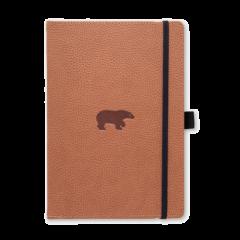 Caiet cu elastic, A5+, 96 file-100g/mp-cream, coperti rigide maron, Dingbats Bear - cu puncte