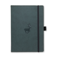 Caiet cu elastic, A5+, 96 file-100g/mp-cream, coperti rigide verzi, Dingbats Deer - cu puncte