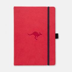 Caiet cu elastic, A5+, 96 file-100g/mp-cream, coperti rigide rosii, Dingbats Kangaroo - cu puncte