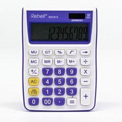 Calculator de birou, 12 digits, 145 x 104 x 26 mm, Rebell SDC 912 - alb/violet