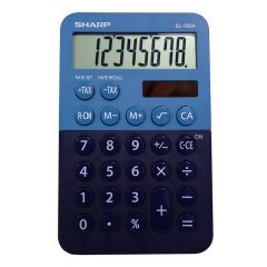 Calculator de birou,  8 digits, 120 x 76 x 23 mm, dual power, SHARP EL-760RBBL -albastru/bleumarin