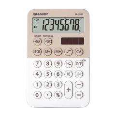 Calculator de birou,  8 digits, 120 x 76 x 23 mm, dual power, SHARP EL-760RBLA - bej/alb