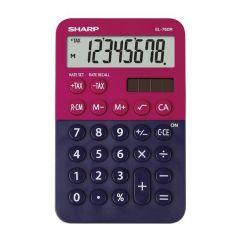 Calculator de birou,  8 digits, 120 x 76 x 23 mm, dual power, SHARP EL-760RBRB - rosu/bleumarin