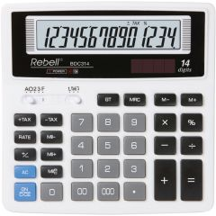 Calculator de birou, 14 digits, 156 x 156 x 30 mm, Rebell BDC 314 BX - alb