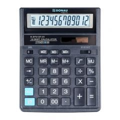 Calculator de birou, 12 digits, 206 x 155 x 35 mm, dual power, Donau Tech DT4127 - negru
