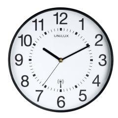 Ceas de perete, controlat prin radio, UNILUX Maxi Wave - negru/alb