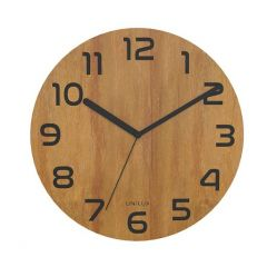 Ceas de perete, UNILUX Palma - negru/bambus