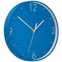 Ceas pentru perete Leitz WOW, silentios, rotund, 29 cm,albastru