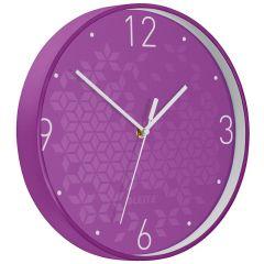 Ceas pentru perete Leitz WOW, silentios, rotund, 29 cm, mov