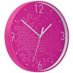 Ceas pentru perete Leitz WOW, silentios, rotund, 29 cm, roz