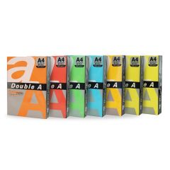 Hartie color pentru copiator  A4,  75g/mp, 100coli/top, Double A - 5 culori neon asortate