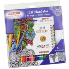 Creioane colorate, cutie carton, 24 culori/set + 120 mandale, ALPINO Color Experience - Premium