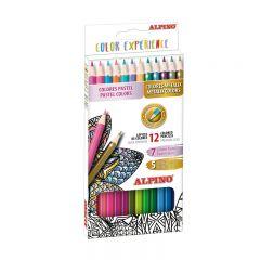 Creioane colorate, cutie carton, 12 culori/set (7 pastel + 5 metalizate), ALPINO Color Experience