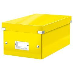 Cutie depozitare Leitz WOW Click & Store, carton laminat, pliabila, cu capac, 20x14x35 cm, galben