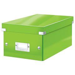 Cutie depozitare Leitz WOW Click & Store, carton laminat, pliabila, cu capac, 20x14x35 cm, verde