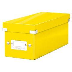 Cutie depozitare LEITZ WOW Click & Store, carton laminat, pentru CD-uri, galben