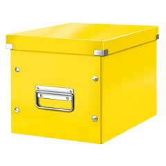 Cutie depozitare LEITZ WOW Click & Store, carton laminat, Cub, medie, galben