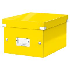 Cutie depozitare LEITZ WOW Click & Store, carton laminat, mica, galben