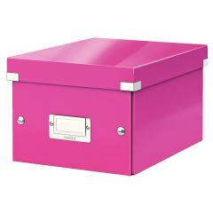 Cutie depozitare LEITZ WOW Click & Store, carton laminat, mica, roz