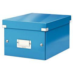 Cutie depozitare LEITZ WOW Click & Store, carton laminat, mica, albastru