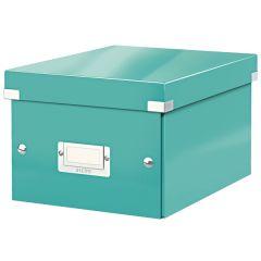 Cutie depozitare LEITZ WOW Click & Store, carton laminat, mica, turcoaz