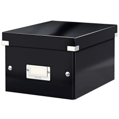 Cutie depozitare LEITZ WOW Click & Store, carton laminat, mica, negru