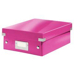 Cutie depozitare LEITZ WOW Click & Store Organizer, carton laminat, mica, roz