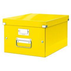 Cutie depozitare LEITZ WOW Click & Store, carton laminat, medie, galben