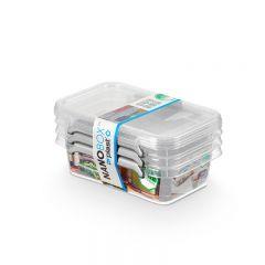 Cutie plastic pt alimente, cu manere si capac, 15x9.5x 7.5cm, 3 buc/set, NANOBOX - capacitate 350ml