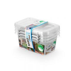 Cutie plastic pt alimente, cu manere si capac, 15x9.5x 9.5cm, 3 buc/set, NANOBOX - capacitate 500ml