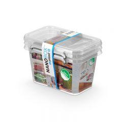 Cutie plastic pt alimente, cu manere si capac, 15x9.5x10.5cm, 2 buc/set, NANOBOX - capacitate 650ml
