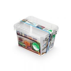 Cutie plastic pt alimente, cu manere si capac, 19.5x15x13cm, 2 buc/set, NANOBOX - capacitate 2L