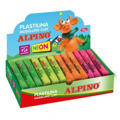 Display plastilina fluorescenta, 12 x 150gr./display, ALPINO -  6 culori asortate