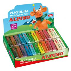 Display plastilina standard, 24 x  50gr./display, ALPINO -  12 culori asortate