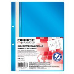 Dosar plastic PP cu sina, cu gauri, grosime 100/170microni, 50 buc/set, Office Products - albastru